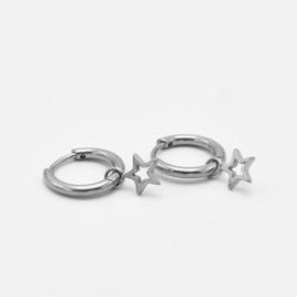 Open star hoops | zilver