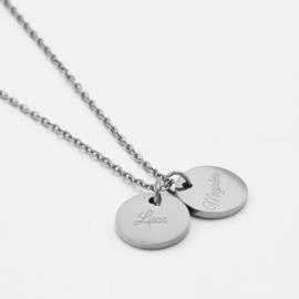 Name coin necklace | 2 coins | Zilver