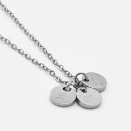 Initial coin necklace | 3 coins | Zilver