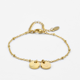 Initial disc bracelet | 2 initials | beaded chain | Goud