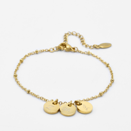 Initial disc bracelet | 3 initials | beaded chain | Goud