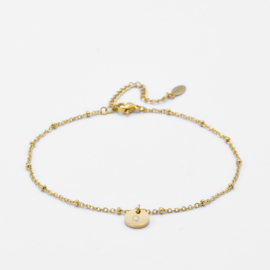 Initial ankle bracelet disc   beaded chain   1 initial   Goud