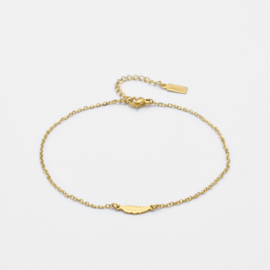 Tiny feather anklet   Goud