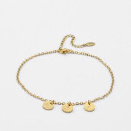 Initial ankle bracelet disc   basic chain   3 initials   Goud