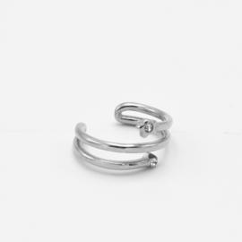 Spiral stone cuff | Zilver