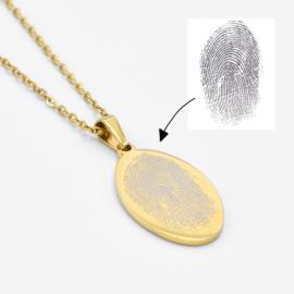 Fingerprint necklace oval   Goud