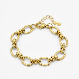Mixed link chain bracelet | Goud