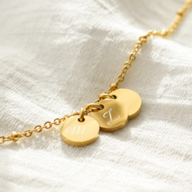 Initial ankle bracelet disc | beaded chain | 2 initials | Zilver