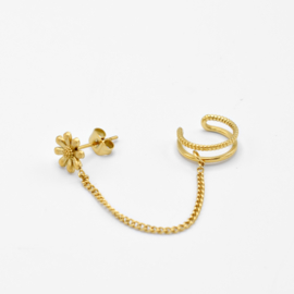 Flower chain ear cuff   Goud