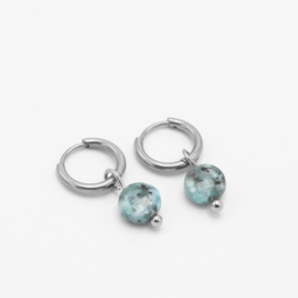 Round blue stone hoops | zilver