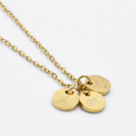 Initial coin necklace | 3 coins | Goud