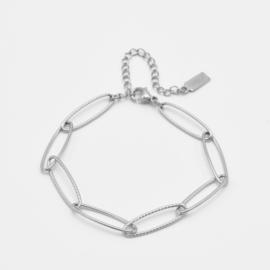 Large oval chain bracelet | Zilver