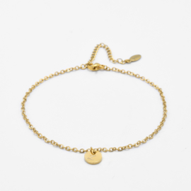 Initial ankle bracelet disc   basic chain   1 initial   Goud