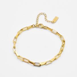 Chunky box chain bracelet | Goud