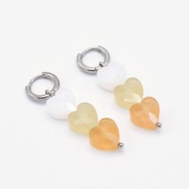 Triple heart bead hoops yellow   Zilver