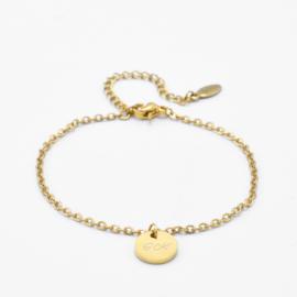 Dangle disc bracelet | basic chain | Goud