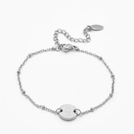 Single disc bracelet | beaded chain | Zilver
