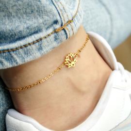 Lotus flower ankle bracelet | Goud
