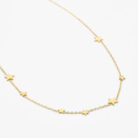 Multi star necklace | Goud