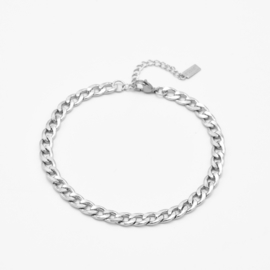 Gourmet chain anklet 6 mm | Zilver