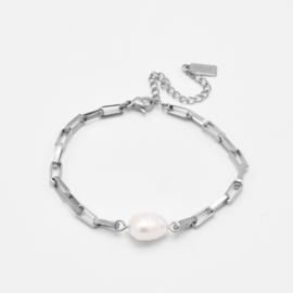 Chunky pearl bracelet | Zilver