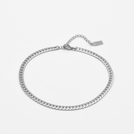 Flat chunky chain anklet | Zilver