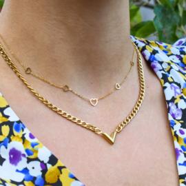 Multi open heart necklace | Zilver