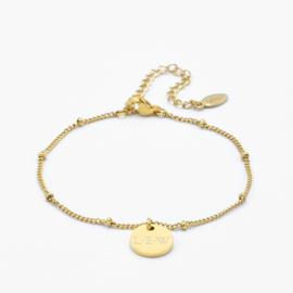 Dangle disc bracelet | gourmet beaded chain | Goud