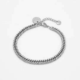 Curbed bracelet | Zilver