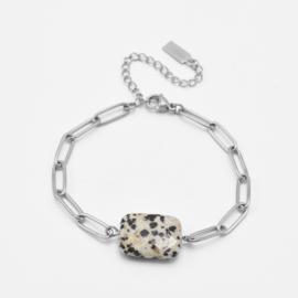 Chunky dalmatian jaspis bracelet | Zilver