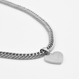 Chunky heart pendant necklace | Zilver