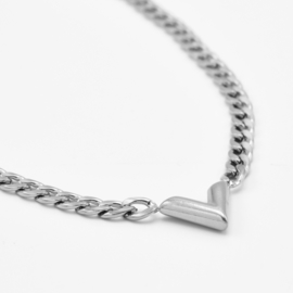 Chunky V chain necklace   Zilver