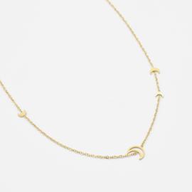 Multi moon necklace | Goud
