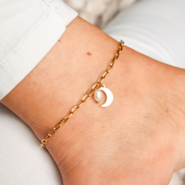 Moon & pearl anklet | Zilver