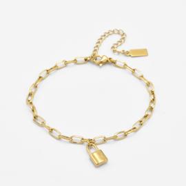 Chunky lock bracelet | Goud