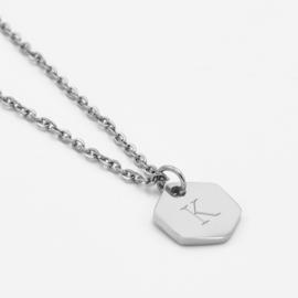 Initial hexagon necklace | tot 3 initialen | Zilver