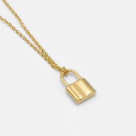Basic lock necklace | Goud