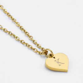 Initial heart necklace | Goud
