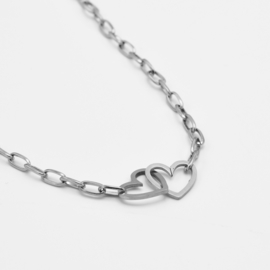 Double heart necklace | Zilver