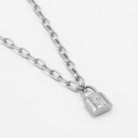 Lock necklace | Zilver