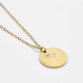 Birthflower necklace   1 flower   Goud