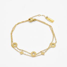 Double bracelet multi stars | Goud