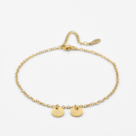 Initial ankle bracelet disc   basic chain   2 initials   Goud