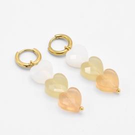 Triple heart bead hoops yellow   Goud