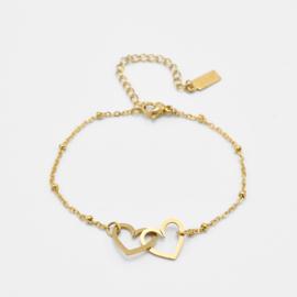 Double heart bracelet | Goud