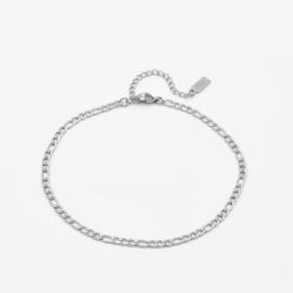 Figaro ankle bracelet | Zilver