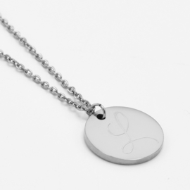 Single initial coin necklace | Zilver