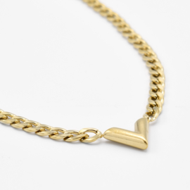 Chunky V chain necklace | Goud