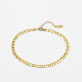 Flat chunky chain anklet   Goud