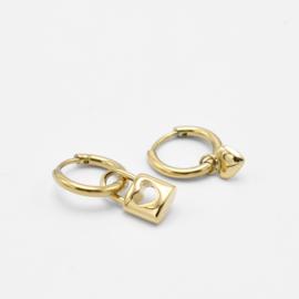 Lock & heart hoops   goud